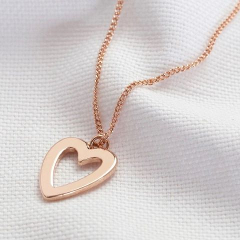 HEART OUTLINE ROSE GOLD NECKLACE